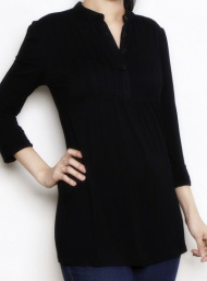 Pleated tunic black longsleeve nursing bamboo funky muma breastfeeding pregnancy maternity wear 