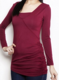 Double ruche top bamboo nursing burgundy funky muma breastfeeding pregnancy maternity wear